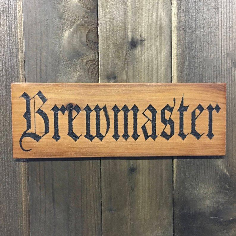 Brewmaster Beer Sign - Carved Cedar Wood
