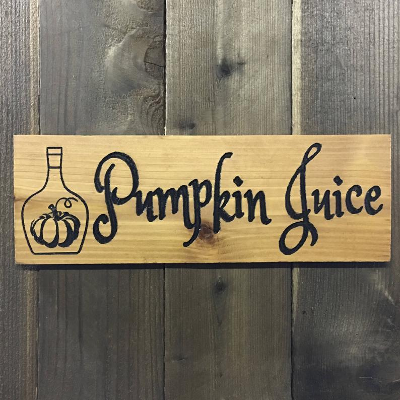 Pumpkin Drink Sign - Carved Cedar Wood