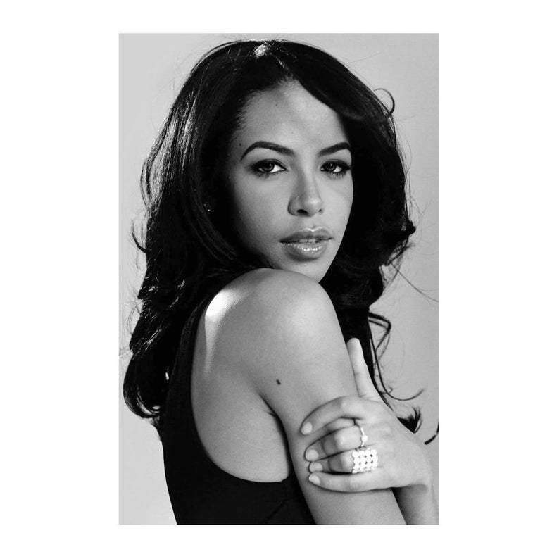 Framed Aaliyah Music Super Star Black And White Art Wall Decor Poster Wall Picture Print Multi Size