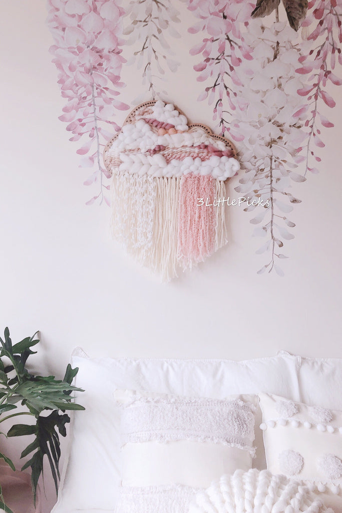 MADE TO ORDER: Pastel Pink Cloud Woven Wall Hanging
