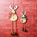 Pastoral Style Wood Christmas Deer with Wind Bell - 2 Piece