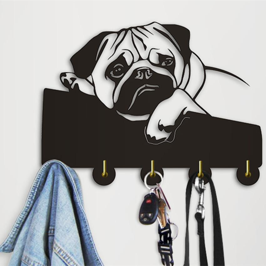 Mp 1Piece Pug Dog Clothes Hooks Lovely Puppy Dog Animal Silhouette Wall Hanger Towels Hooks Nursery Decor For Bathroom