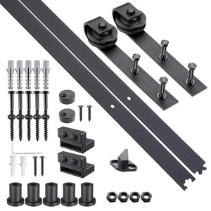 6.6 FT Sliding Barn Wood Door Hardware Track Roller Kit Set Black Carbon Steel