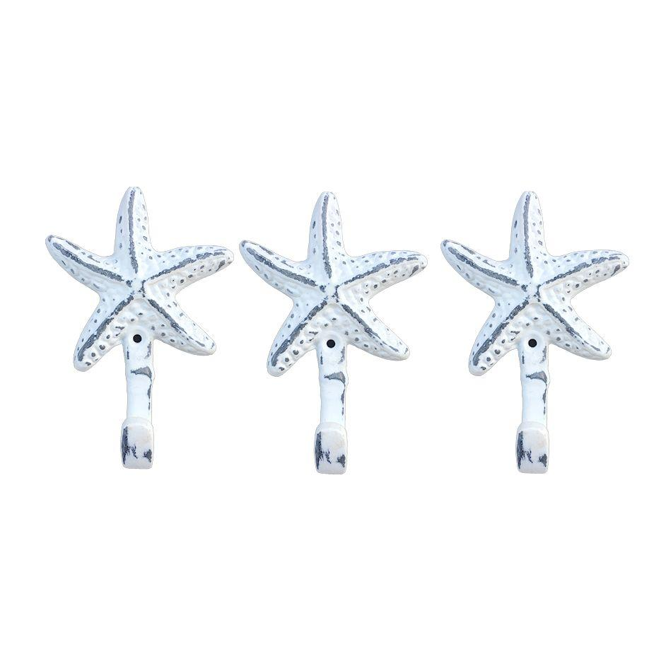 Starfish | Wall Hooks Cast Iron Weathered White | Set of 3