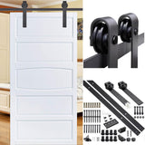 Yescom 10 ft Sliding Barn Door Hardware Track Kit Single Door Rollers Black