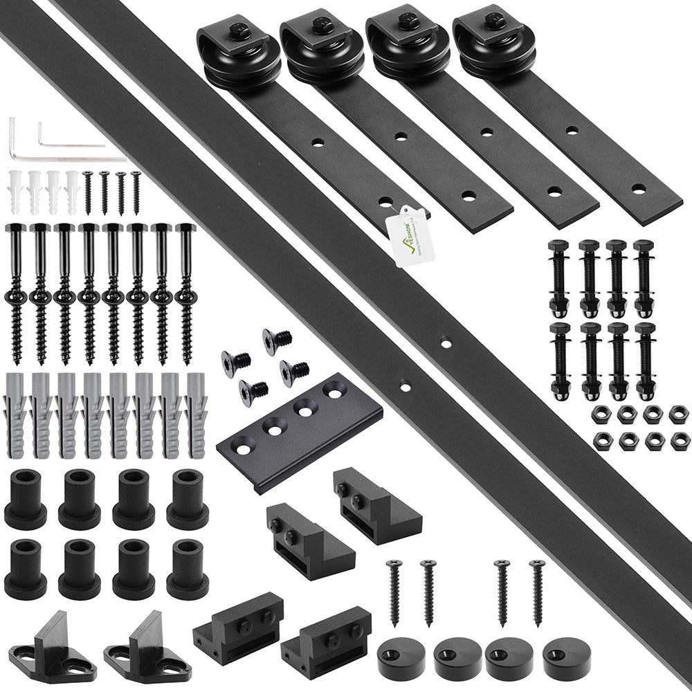 Yescom 10 ft Sliding Barn Hardware Track Kit 4-Rollers I Style