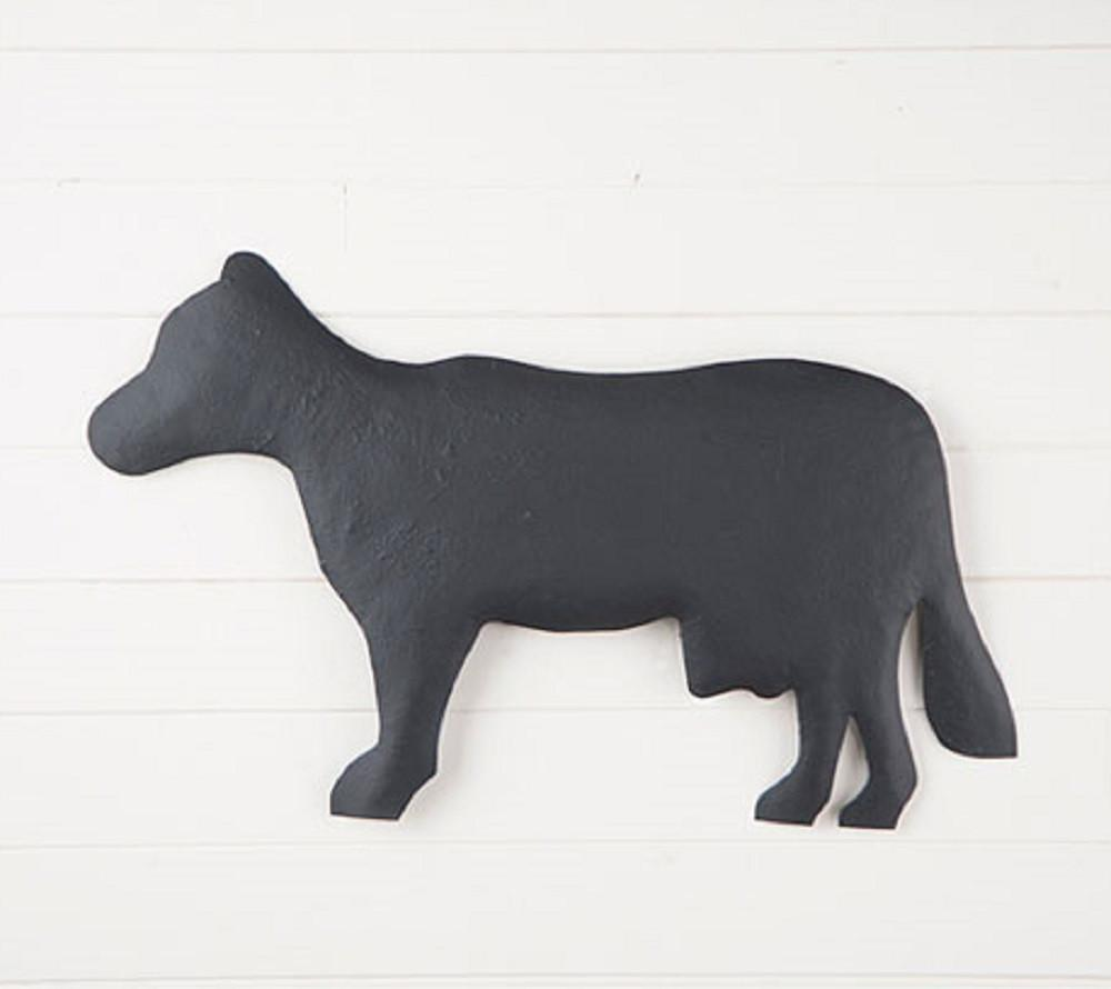Country Cow Metal Wall Hanger in Textured Black Finish