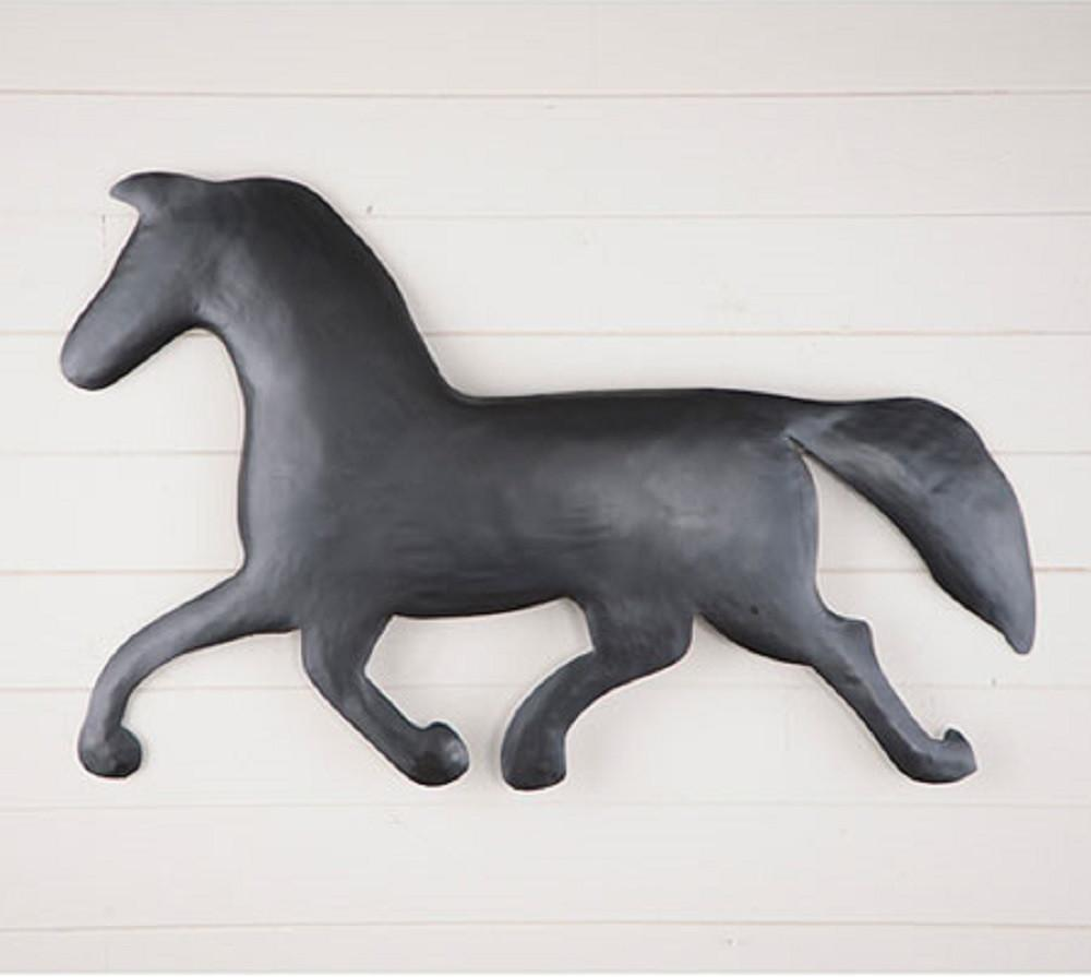 Metal Horse Wall Hanging Sculpture in Smokey Black Finish
