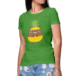 5ade8a11a Women's Printed Buggles Bear Pineapple Relaxed Fit T-Shirt – Sinjin ...