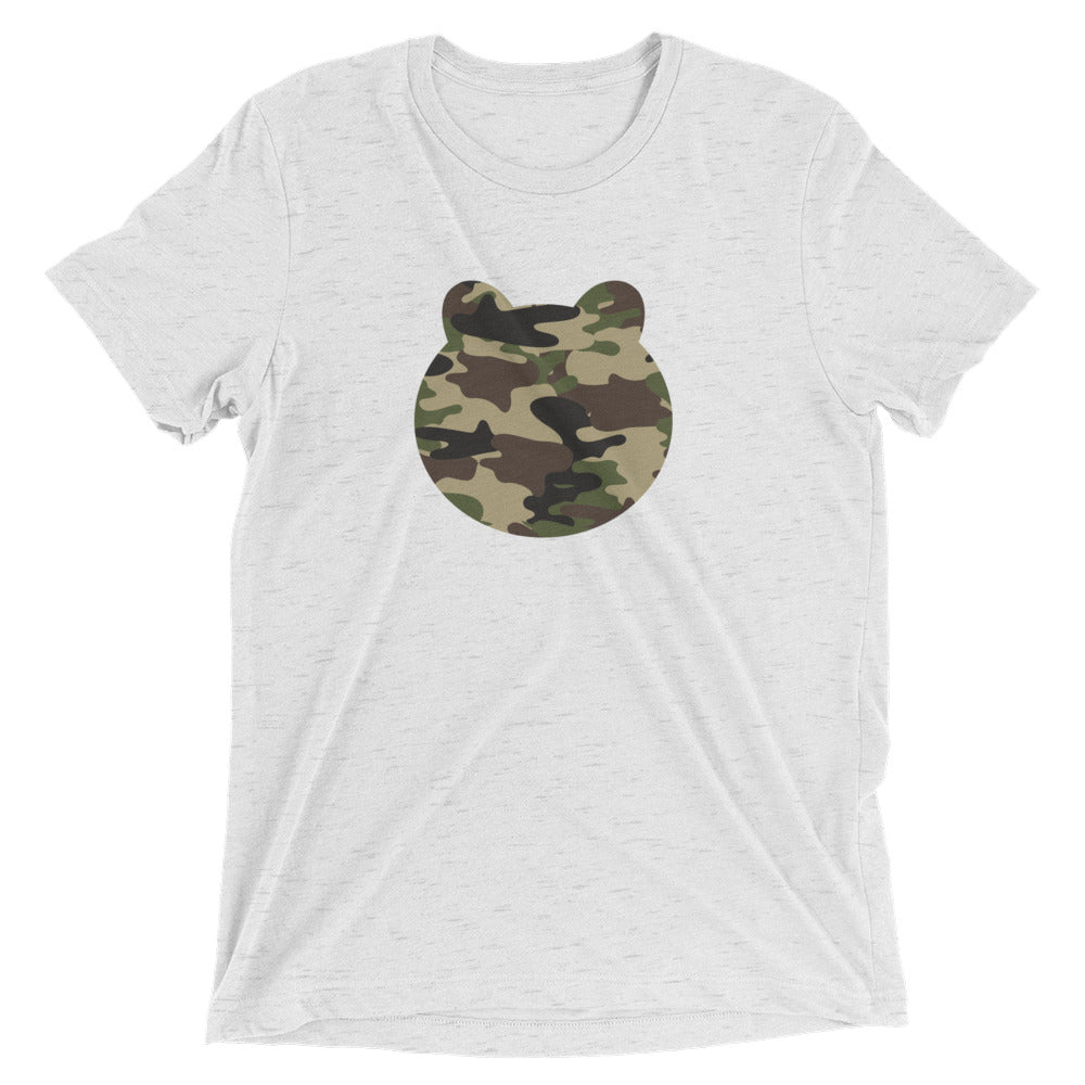 Women's Printed Camo Bear Head Relaxed Fit T-Shirt