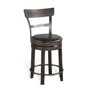 "24""H Barstool w/ Back & Swivel, Cushion Seat"