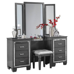 1916GY-15 Vanity Dresser with Mirror