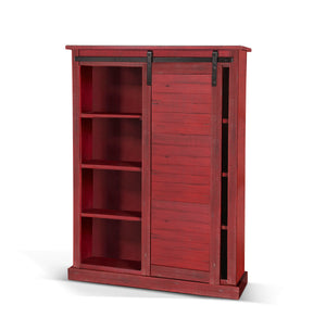 Burnt Red Barn Door Bookcase