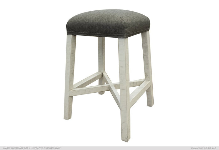 "Stone 24"" Stool w/fabric seat & Ivory Finish"