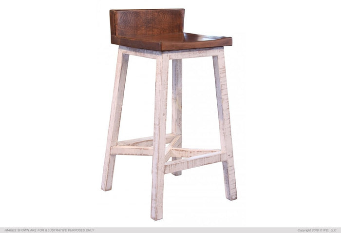 "Pueblo White 30"" Stool - with wooden seat & base- White finish"