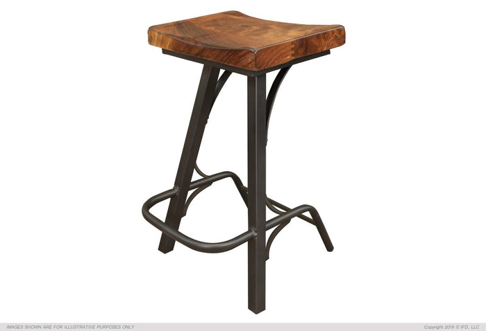 "Copy of Stool 30"" Stool - with wooden seat & iron base"