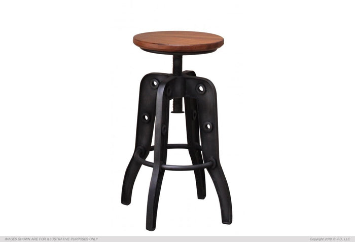 "Parola 24-30"" Adjustable Height Swivel Stool, Wooden Seat, Iron base"