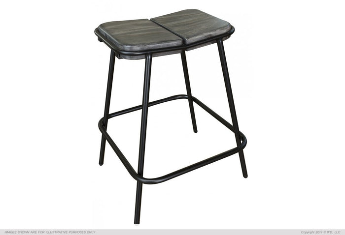 "Moro 24"" Stool - with wooden seat & iron base"