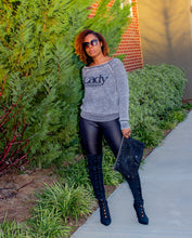 Load image into Gallery viewer, Lady University Glitter Off The Shoulder Grey Sweatshirt