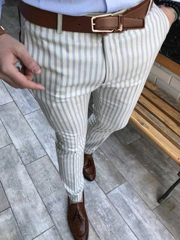 Cut Slim Fit Fashion Men's Striped Casual Pants