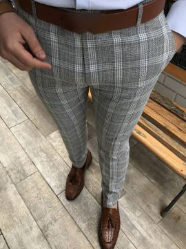 Cut Slim Fit Casual Men's Plaid Pants