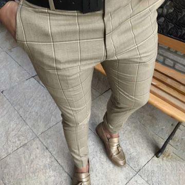 Men'S Plaid Printing Casual Pencil Pants