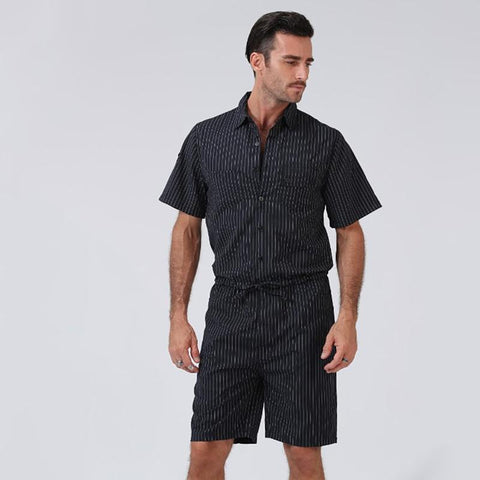 Men's Short Sleeve Striped Slim   Solid Color Jumpsuit