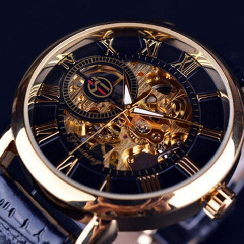 Fashion Mens 3D Hollow Mechanical Watches