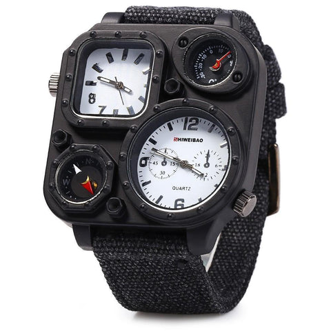 Mens Big Dial Dual-Movement Sport Quartz Watch