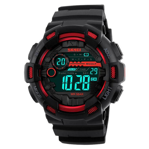 Men Sports Watches 50M Waterproof Back Light LED Digital Watch Chronograph Shock Double Time F Wristwatches 1243