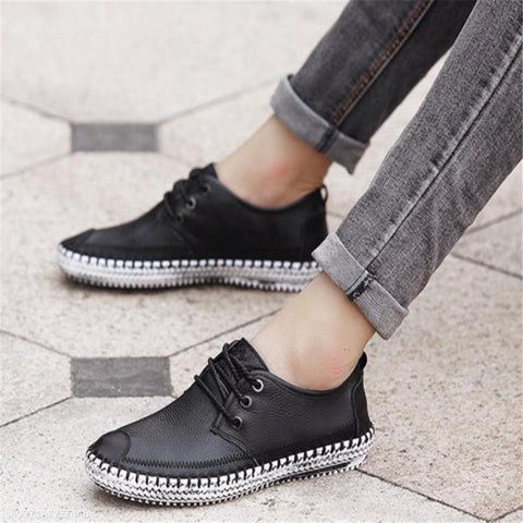 Fashion Youth Plain Leather Knitting Bottom Casual Shoes