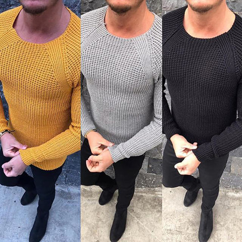 Casual Round Collar Plain Knit Slim Sweater
