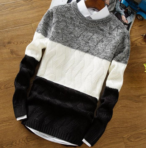 High Quality New In Casual Pullover Men Autumn Winter O Neck Gradient Color Knitted Sweater
