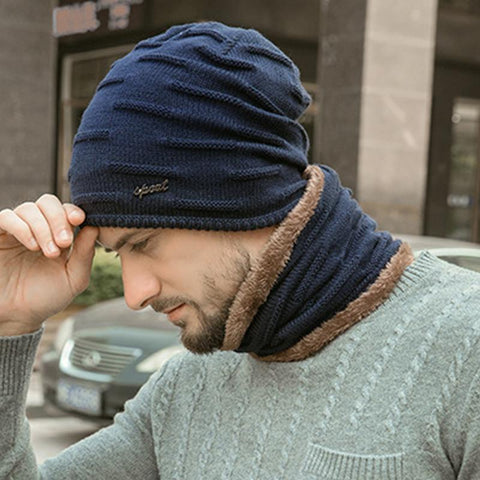 Men's Plus Velvet Thick Warm Knitted Wool Hat Outdoor Hat