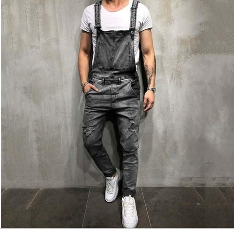 Men's Sling Denim Romper Tear   Jeans Trousers Popular