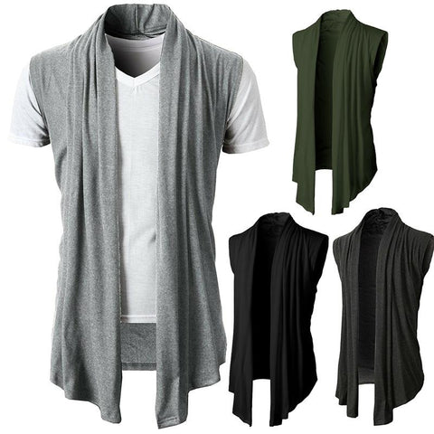 Solid Color Versatile Sleeveless   Casual Knit Cardigan