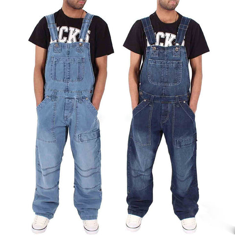 Men's Denim Overalls   Multi-Pocket Loose Denim Trousers