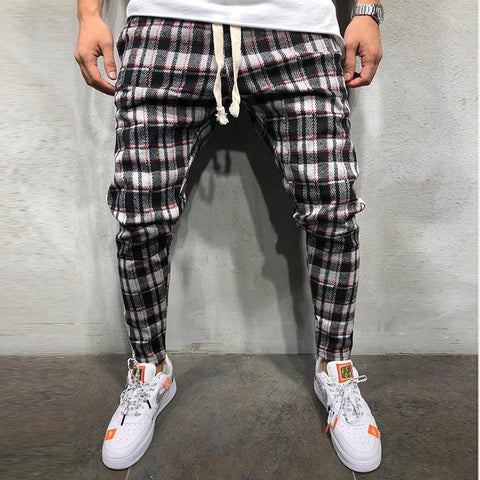 Fashion Plaid Printed Side Edge Trousers