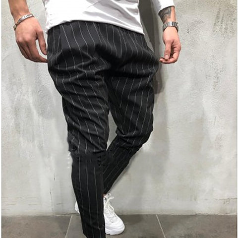 Men's Casual Stripe Check Pattern Tight Fit Pants