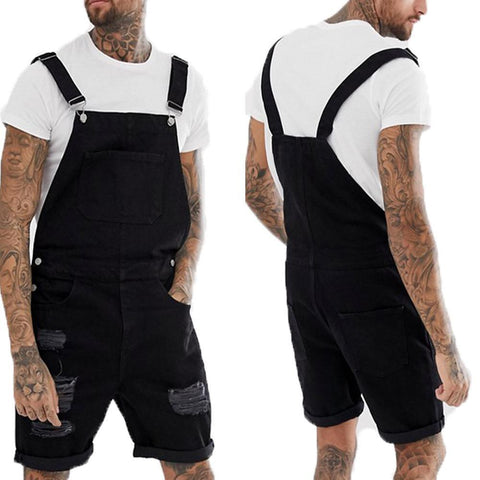 Men's Casual Vintage Broken Hole Tooling Strap Jumpsuit