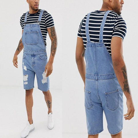Men's Fashion Distressed Broken Hole Strap Jumpsuit