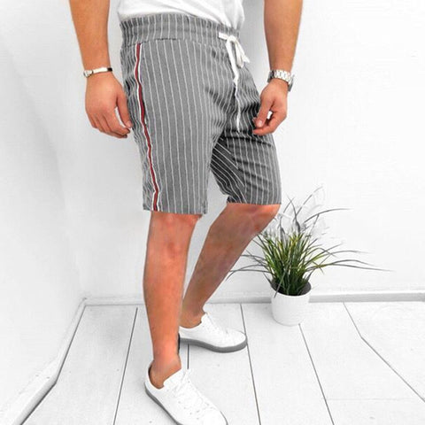 Men's Fashion Casual Elastic Stripe Tight Fit Shorts