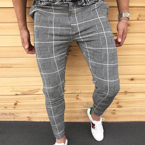Vintage Casual Slim Fit Check Pants