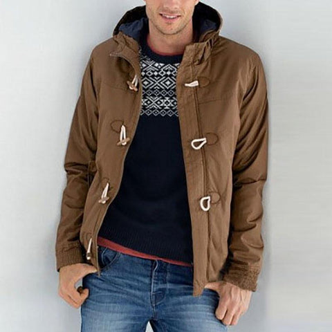 Fashion Solid Color Stand Collar Horn Buckle Down Jackets