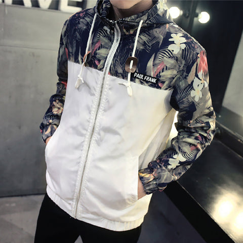 Fashion Contrast Color Camouflage Hooded Jacket