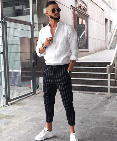 Classic Men's Striped Cropped Casual Pants