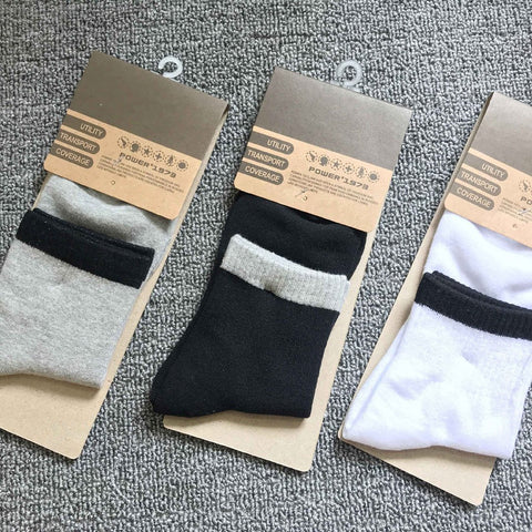 Pure cotton tube pure color sports socks