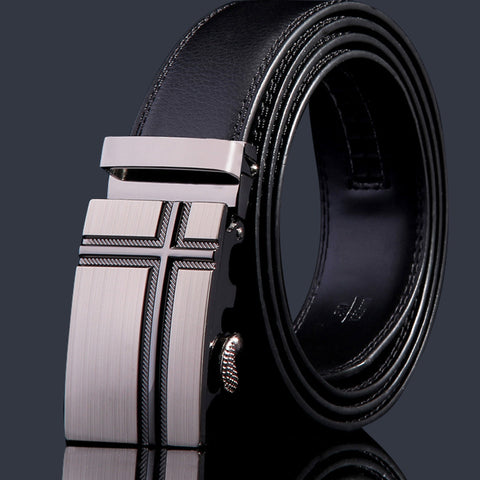 Business alloy automatic belt buckle genuine leather belt