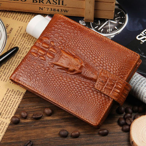 Leather short crocodile pattern large-capacity wallet