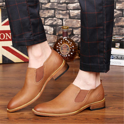 Men's Bullock Pointed Retro Casual Leather Shoes